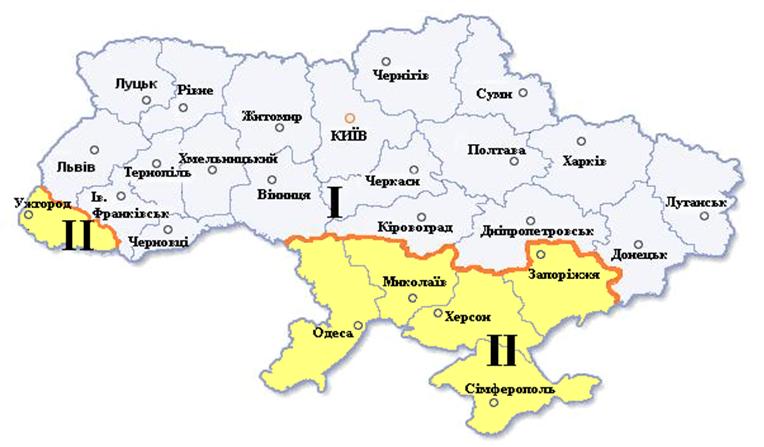 Мал. 1. Мапа кліматичних зон України